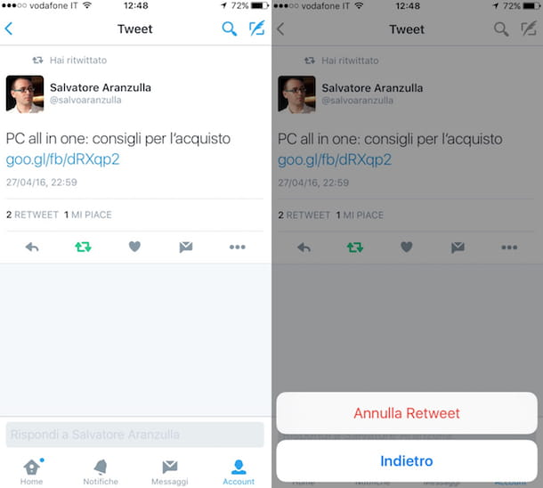 Screenshot dell'app Twitter su iPhone
