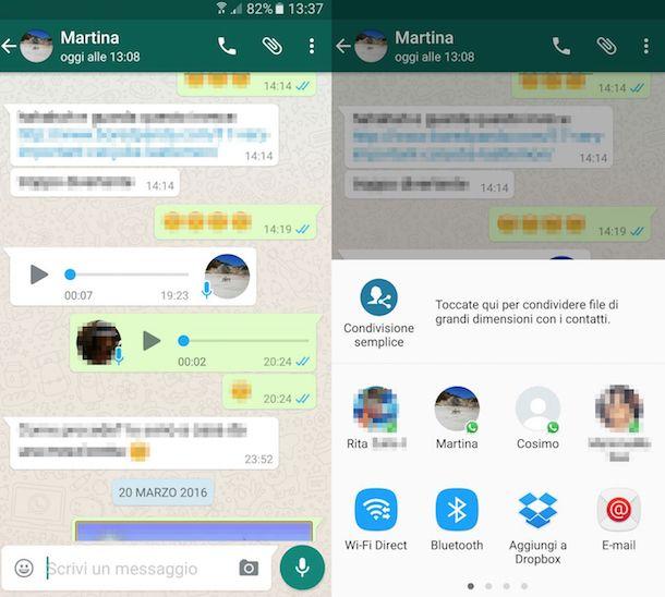 Screenshot che mostra come inoltrare messaggi vocali tramite Android