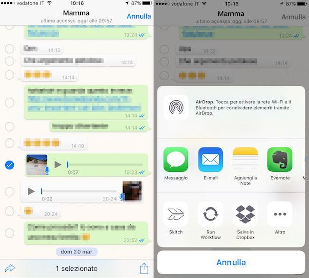 Screenshot che mostra come inoltrare messaggi vocali tramite iPhone