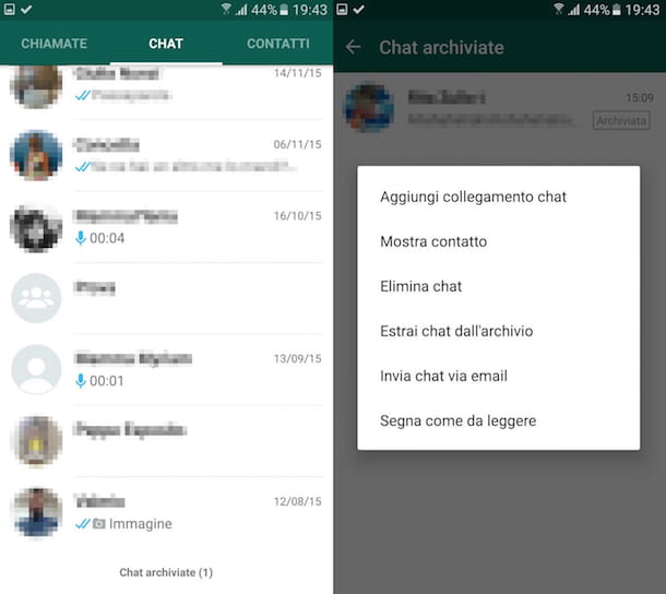 Screenshot WhatsApp su Android