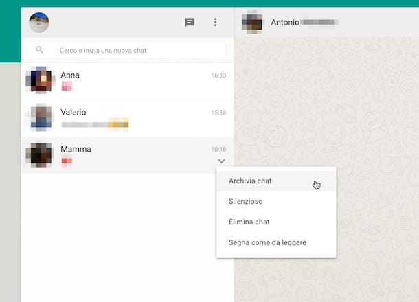 Screenshot di WhatsApp Web