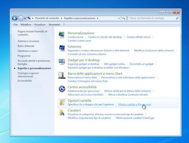 Screenshot Windows 7 cartelle nascoste