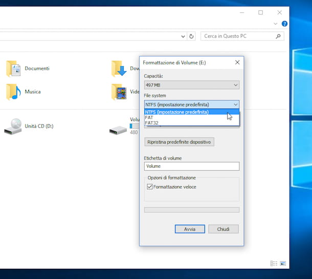 Screenshot che mostra come formattare HD esterno su Windows