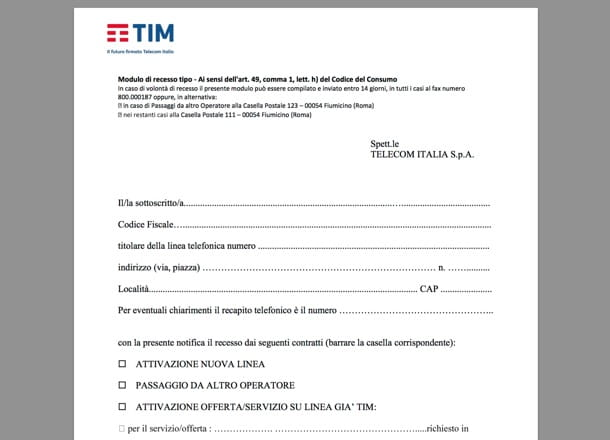 Modulo disdetta Telecom