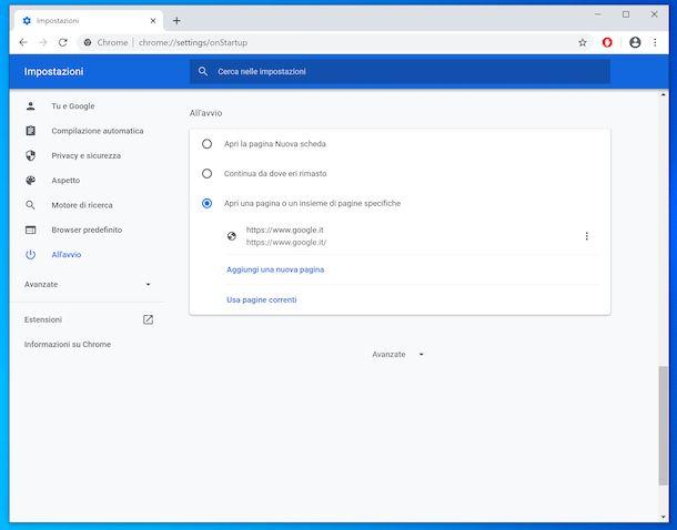 Impostare Google come pagina iniziale su Chrome