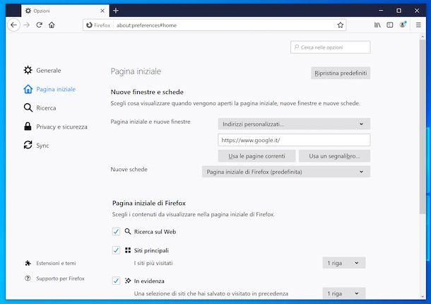 Impostare Google come pagina iniziale su Firefox