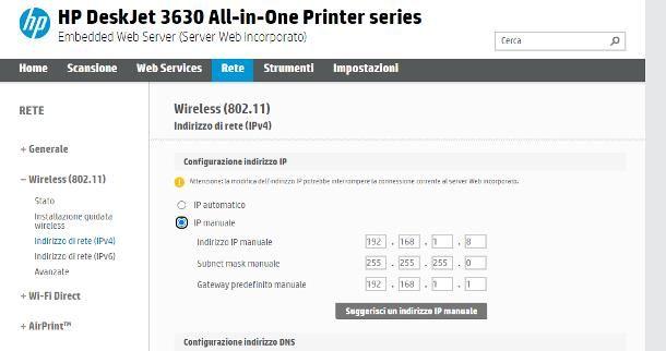 Come assegnare IP statico alla stampante