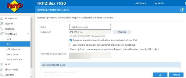 Come assegnare IP statico dal router
