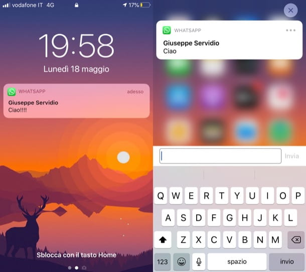 Funzione Rispondi di WhatsApp iPhone