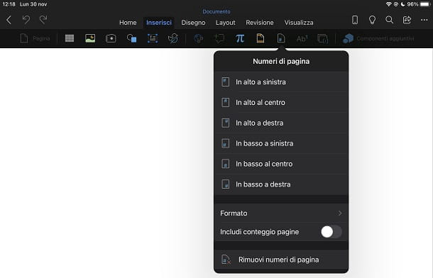 Numerare le pagine in Word da smartphone e tablet