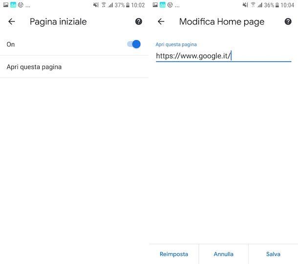 Impostare Google come pagina iniziale su Chrome Android