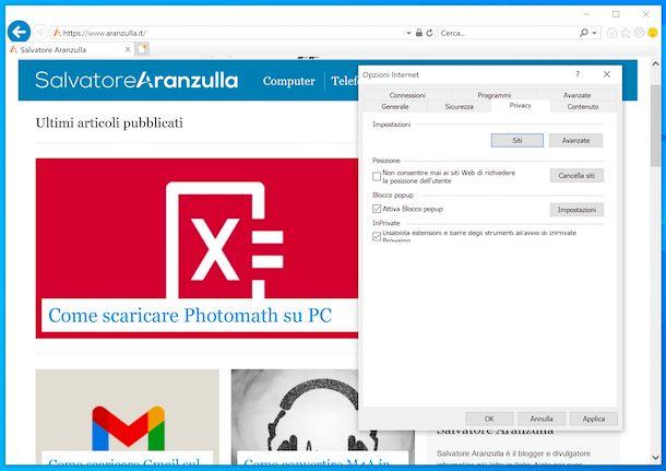 Blocco popup Internet Explorer