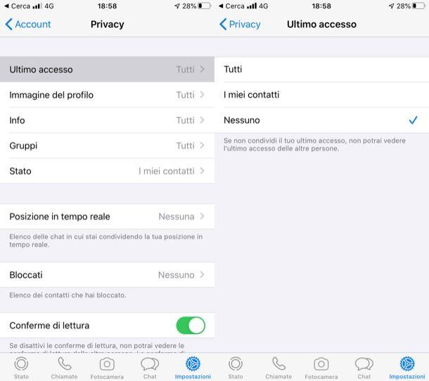 Nascondere ultimo accesso WhatsApp iPhone