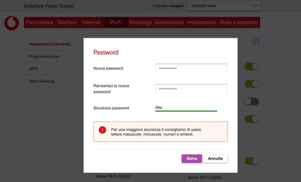 Come cambiare password WiFi: Vodafone