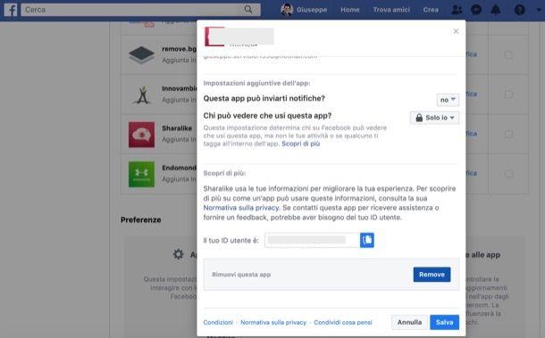 Rimuovere app da Facebook