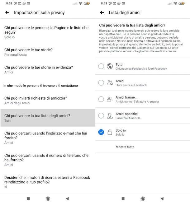 Nascondere amici Facebook su Android