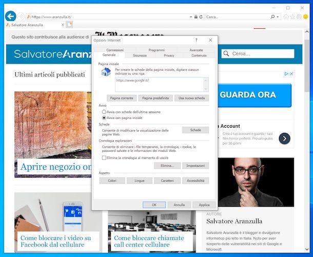Impostare Google come pagina iniziale su Internet Explorer
