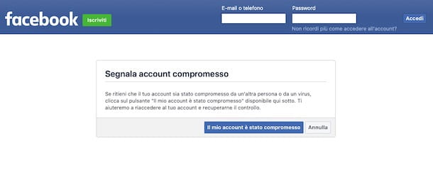 Come eliminare account Facebook rubato