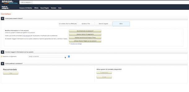 Screenshot del sito di Amazon