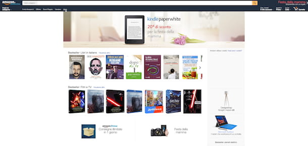 Screenshot del sito di Amazon