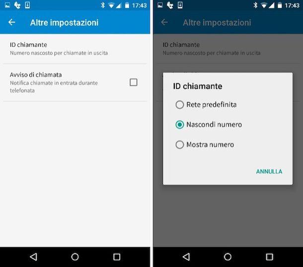 Impostazioni numero privato Android