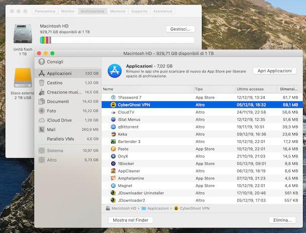 Disinstallazione applicazioni macOS tramite lo strumento per gestire lo spazio d'archiviazione