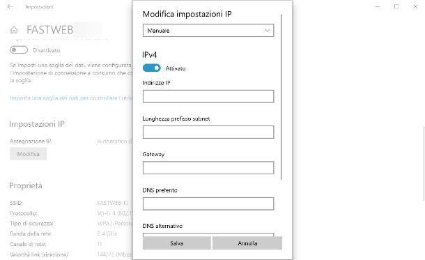 Come assegnare IP statico al PC