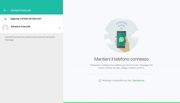 Bloccare contatto WhatsApp PC