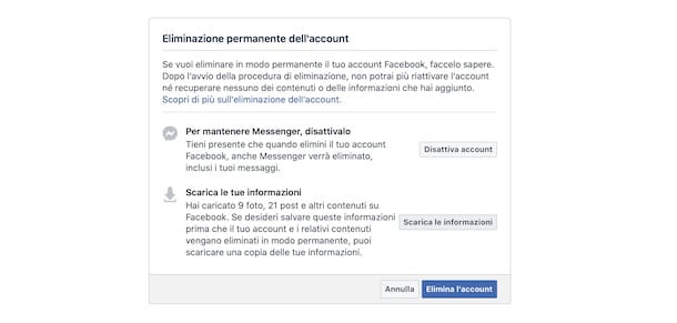 Eliminare account Facebook da computer