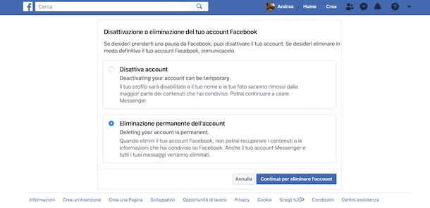 Come eliminare account Facebook da PC