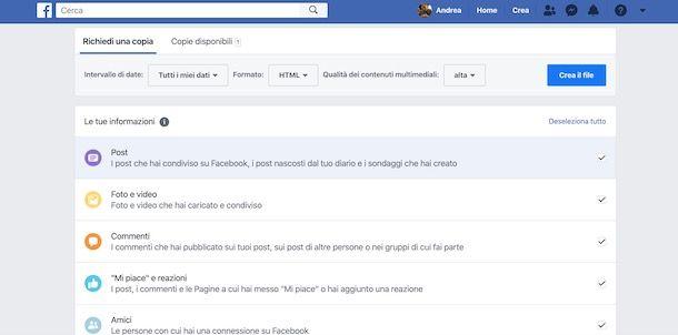 Scaricare informazioni Facebook da computer