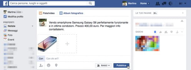 Screenshot post Facebook