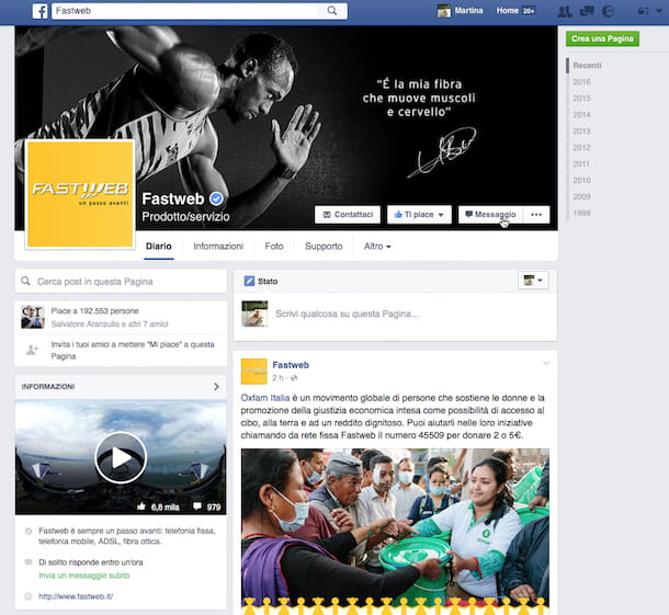 Screenshot Fastweb Facebook