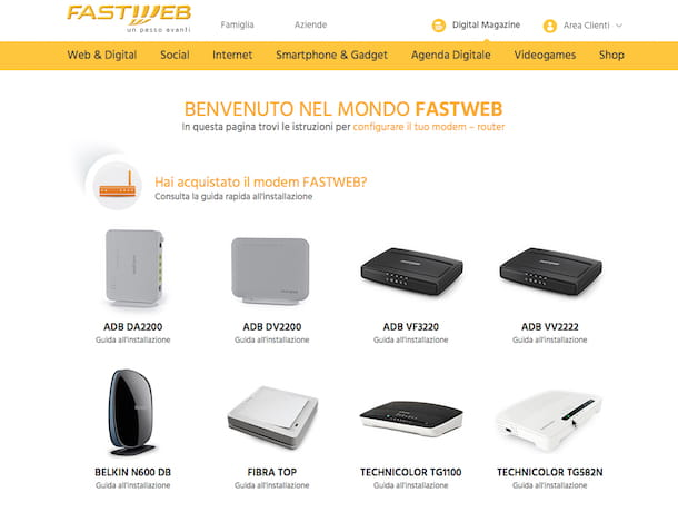 Screenshot sito Fastweb