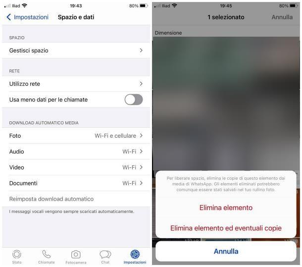 Come liberare spazio su iPhone: WhatsApp