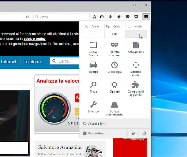 Screenshot che mostra come zoomare la pagina Internet