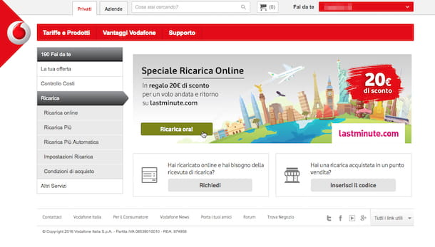 Screenshot che mostra come regalare una ricarica Vodafone