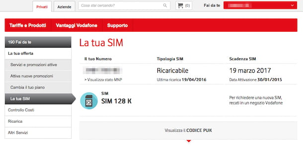 Screenshot sito Vodafone