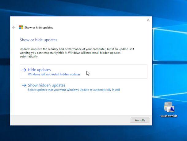 Screenshot che mostra come bloccare aggiornamenti Windows 10