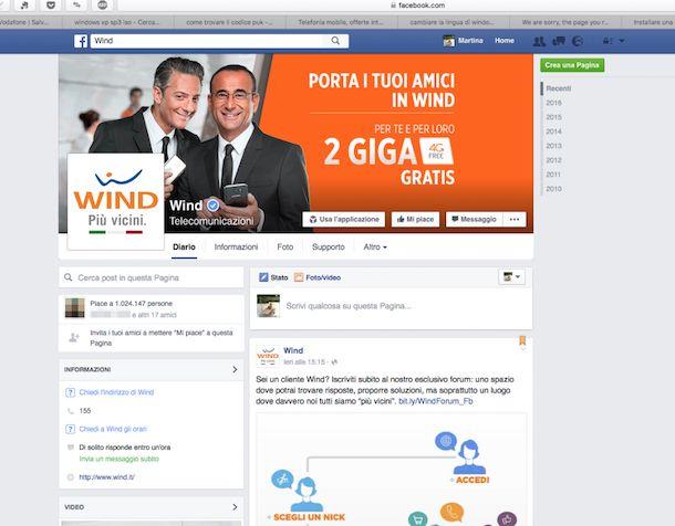 Screenshot di Wind su Facebook