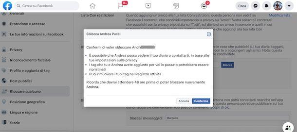 Come sbloccare una persona su Facebook dal PC