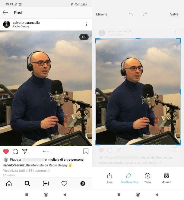 Salvare foto da Instagram
