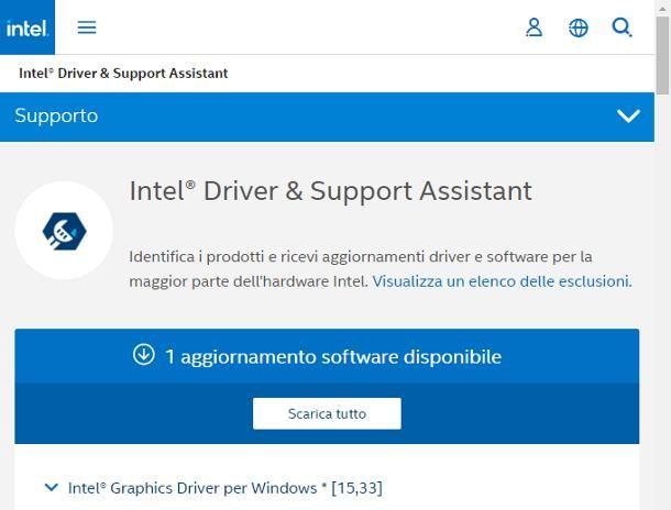 Come aggiornare driver scheda video Intel