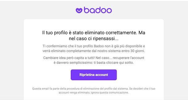 Recuperare account Badoo cancellato