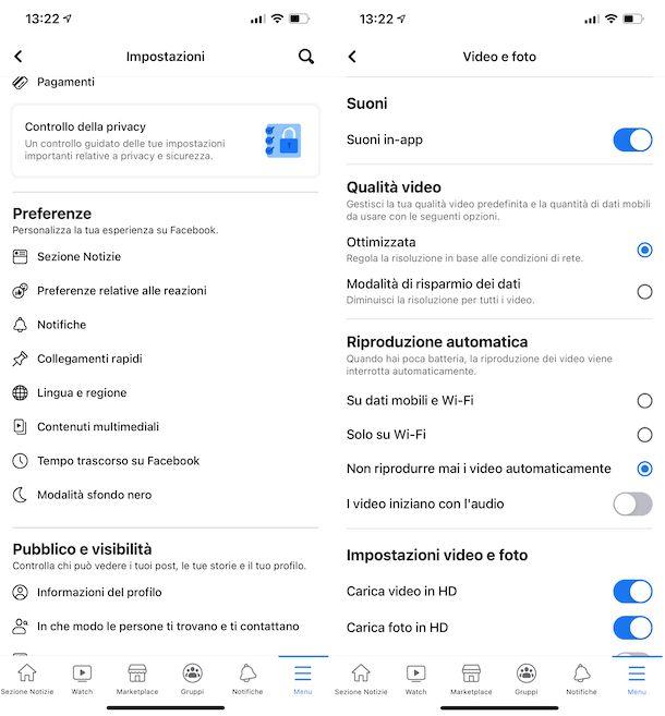 Riproduzione automatica video Facebook iPhone