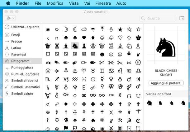 Visore caratteri macOS