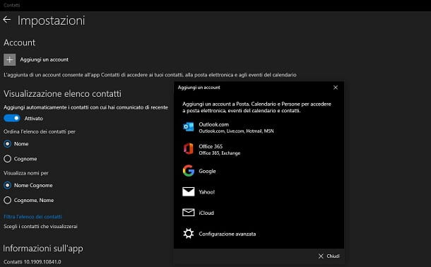 Sincronizzare rubrica Gmail su Windows 10