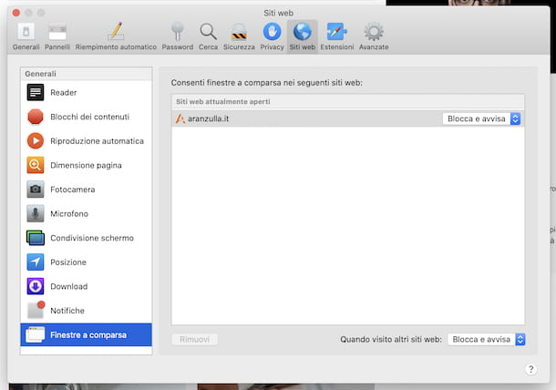 Preferenze popup Safari macOS