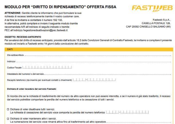 Disdetta Fastweb: modulo