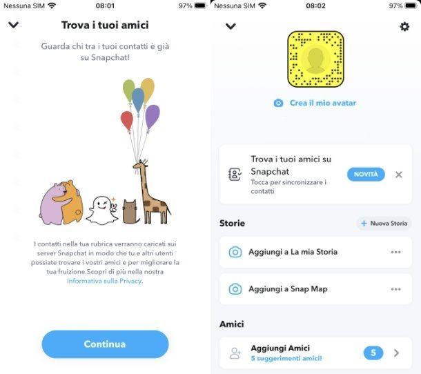 Come funziona Snapchat contatti